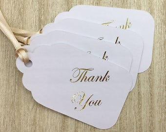 4 Gift Tags - Gold Foil Thank You