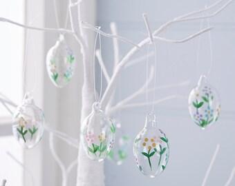 Easter Egg Decorations Glass Set Of Six