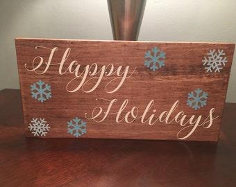 Happy holiday sign, holiday decor, christmas decor, seasonal decor sign