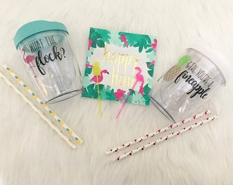 Tropic Adult sippy cups// What the Flock?// girl you're a fineapple