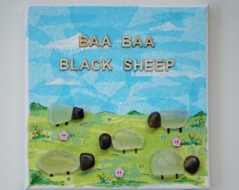 Pebble Art, Sea Glass, Nursery Rhyme, Mixed Media Canvas, Baa Baa Black Sheep, Nursery Decor, New Baby Gift, Christening Gift.