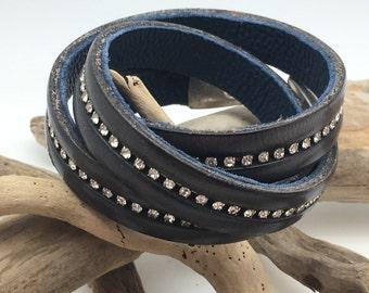 Multi strand bracelet, leather and rhinestone