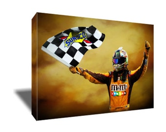 FREE SHIPPING Nascar Driver Kyle Busch Victory Canvas Art