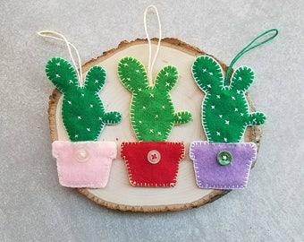 Felt Cactus Bag Tag / Gift Tag / Key Tag / Ornament