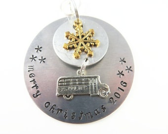 Hand stamped school bus driver christmas ornament-    Sample - will custom make -