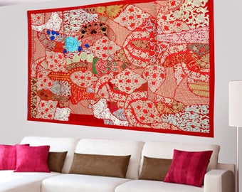 Indian Bohemian Tapestry Home Decor Handmade Wall Hanging Embroidery Patchwork Vintage  - 40 X 60 Inches LT03
