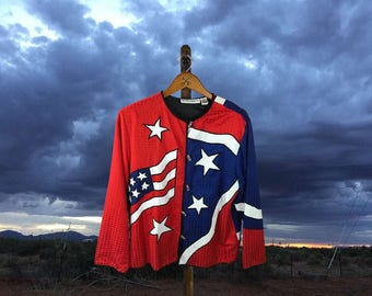 American Flag Jacket, Vintage Western Blazer, Women's Americana Top, Red White and Blue, Stars and Stripes, Drapers and Damons, Large