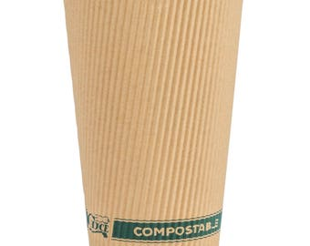 50ct 16oz Kraft Compostable & Biodegradable Paper Hot Cup, Coffee Cups, Disposable Coffee Cups, Cups, Eco-Friendly, Party Supplies, Wedding