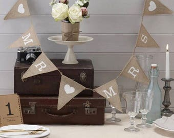 """1 PC Jute """"Mr. & Mrs."""" Banner, Rustic Wedding, Rustic Decor, Wedding Supplies, Wedding Decorations, Wedding, Rustic, Party, Just Married"""