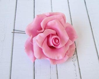 Pink Rose Hairpin - Flowers Hair Pin Aaccessories - Rose Hair Piece - Wedding Hair Decoration - Hair Wedding Flowers - Wedding Hair Clips