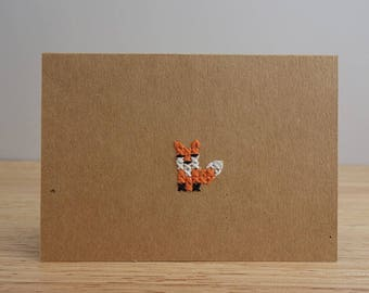 Woodland creature cross stitch card