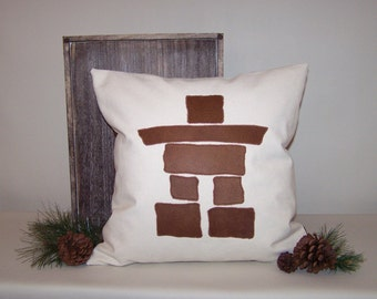 Canvas Pillow Cover with Faux Leather Inukshuk Applique 18x18