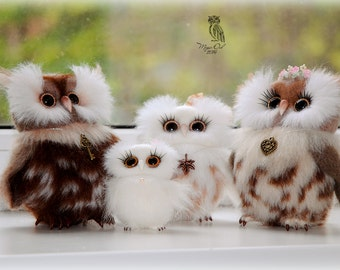 Family of Magic Owls - 100% Handmade Needle Felted Wool Animal