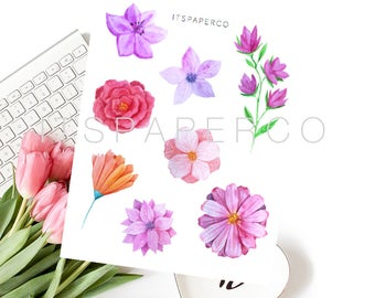 Vibrant Flowers - Bullet Journal Stickers - Planner Stickers - WF006