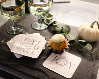 Coasters, JoyFUL Design Paper Coasters (set of 24), Hostess Gift, Holiday Drink Coasters