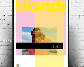 Frank ocean blonde poster merch, frank ocean album art blonde poster, frank ocean art, frank ocean blonde, frank ocean album print poster