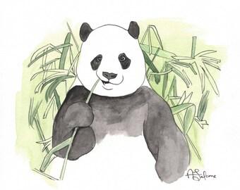"Panda 10x10"" Matted Giclée Print"