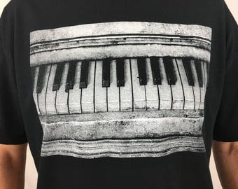 Vintage Piano With A Classic Feel From A Very Hi-Res Photograph Screen Printed On An Adult Soft Style T-Shirt