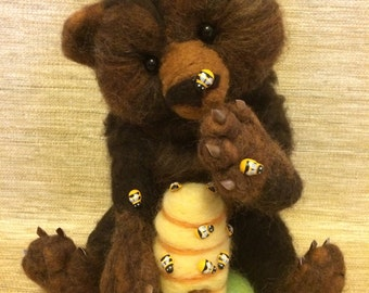 Adorable Bear with beehive needle felted wool sculpture