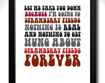 THE BEATLES - Strawberry Fields Forever Limited Edition Unframed A4 Art Print with lyrics