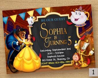 Beauty And The Beast Invite, Beauty Birthday Party Invitation, Beauty Beast Printable Party Card, Disney Beauty, Princess Belle Invitation