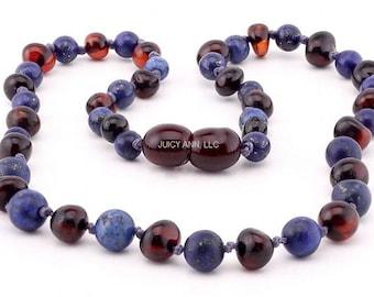 Child Authentic Amber - Amber Teething Necklace - Genuine Lapis Lazuli - Polished Amber - Light Amber - Lapis Lazuli Cherry Amber Necklace