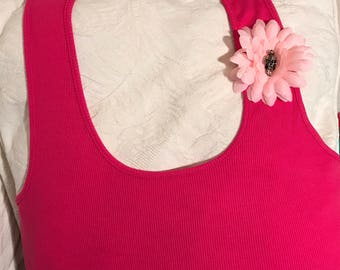 Hand embellished top tshirt pink size XL