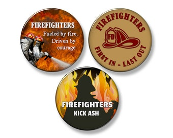 "FIREFIGHTER Fridge Magnet Set - 3 Large 2.25"" Round Magnets"