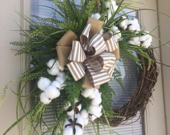 Cotton Wreath, Summer Wreath, Spring Wreath, Grapevine Cotton Wreath