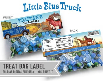 Little Blue Truck Favor Bag Label // Treat Bag Label // Digital File ONLY
