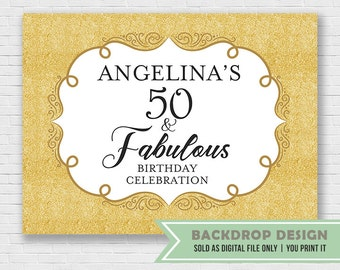 Fabulous Birthday Banner Backdrop // 40th 50th 60th Adult Birthday Banner Backdrop