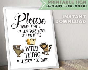 Where The Wild Things Are Guest Book // Party Sign // Digital File Only // INSTANT DOWNLOAD