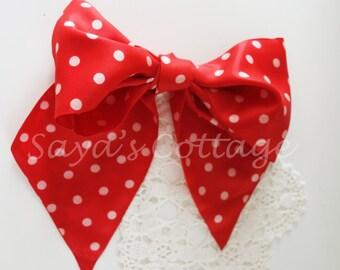Vintage Red Polka Dot Polka Dotted Acetate Scarves Scarf Muffler Mufflers Vintage Fashion Item