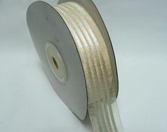 "Satin sheer stripe, antique white color, 7/8"" x 25 yards"