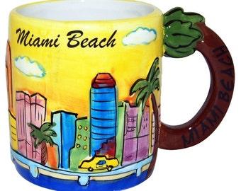 Miami Beach Handpainted 11 oz mug