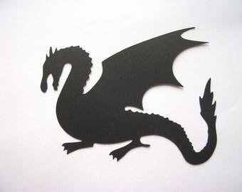 10 Dragon Silhouette Die Cuts in Black - Fairy Stories