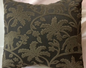 Olive green Burnt out Velveteen Elephants and Palm Trees Pillow Cover,Throw Pillow,SKU-137