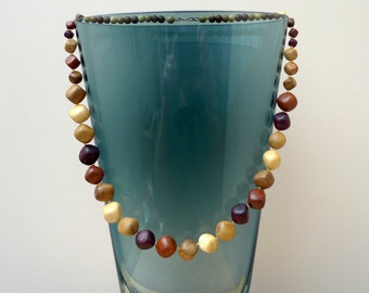 Wooden beads necklace  natural handmade jewelry