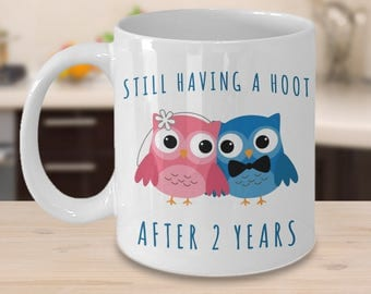 2nd Anniversary Coffee Mug Still Having a Hoot After 2 Years Together Wedding Anniversary Gift for Him Second Two