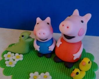 Peppa pig edible cake topper set