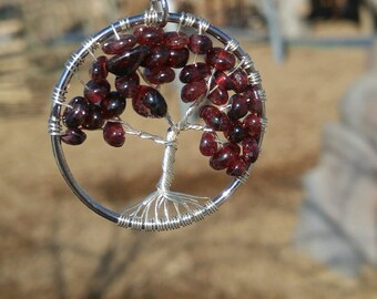 Tree of Life Necklace Garnet