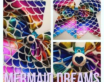 "Hand made Mermaid Rainbow Scales 7"" Hair / Cheer bow with clip or elastic"