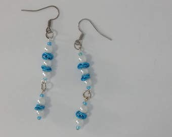 Custom Hand Made Earrings Sky Blue Rosettes with Pearl Beads