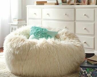 Sheepskin pouf  Lamb pouf  White pouf  Large pouf  Fur pouf  Comfortable pouf  Sheepskin beanbag  Bean Bag Furry