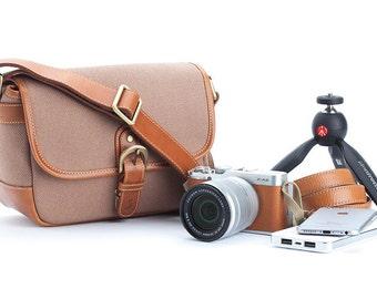 Camera bag personalized waxed canvas : Amadad Brown messenger bag style for mirrorless camera fuji sony canon nikon leica