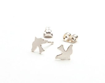 Silver Bird Earrings / Tiny Dainty Charm Studs / Valentine, Christmas Gift For Her / Wedding Jewellery / Jewelry