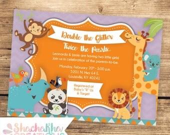 PRINTABLE Safari Baby Shower Invitation - Twins - Custom Baby Shower Invitation - Giraffe Monkey Koala - 4x6 or 5x7