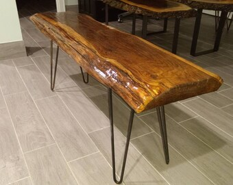 Salvaged Oak Wood Bench with Classic Hairpin Legs