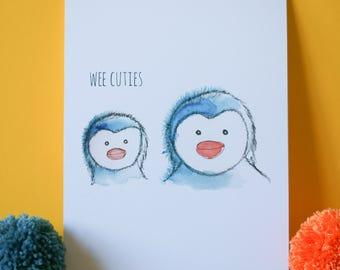 Wee Cuties (Penguins) print