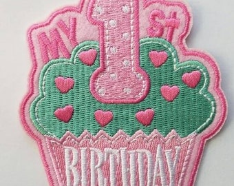 My 1st cupcake birthday party patch, 1st cupcake iron on patch